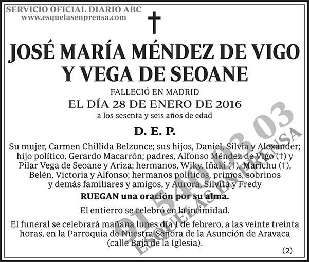José María Méndez de Vigo y Vega de Seoane